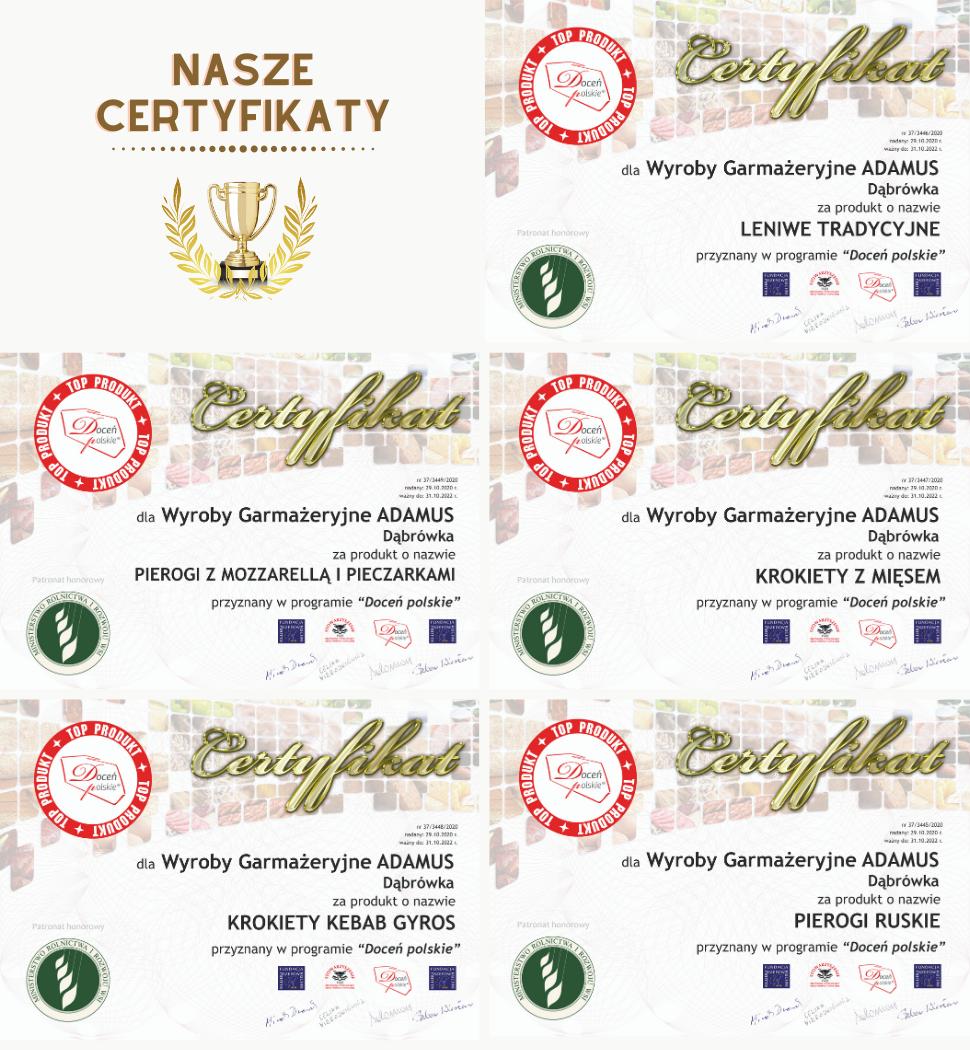 certyfikaty ADAMUS